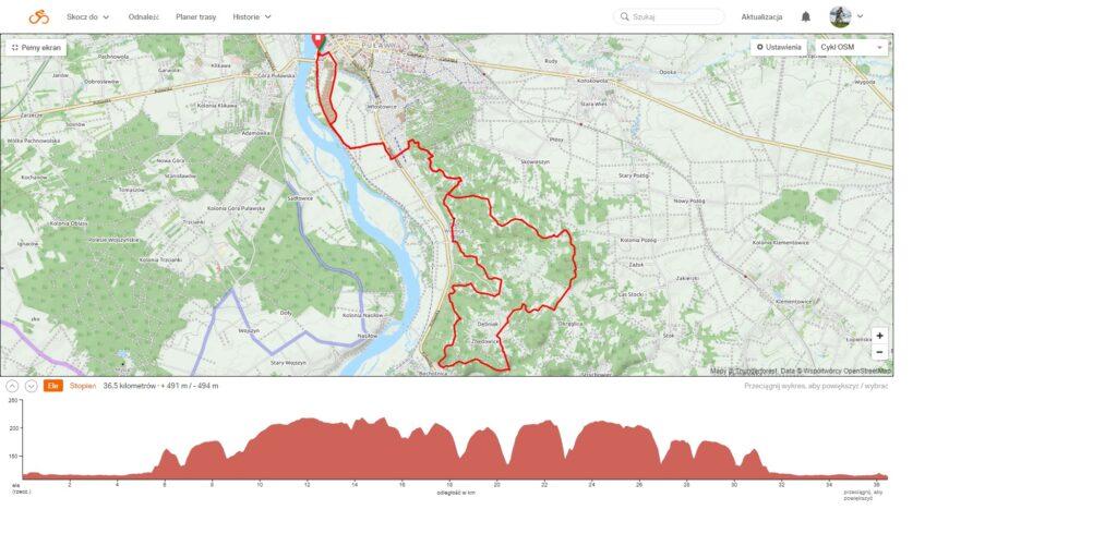 Mapa dystansu 1/2 Pro Puławy Cisowianka Mazovia MTB Marathon