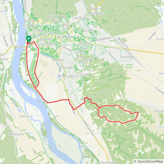 Mapa dystansu Fit Puławy Cisowianka Mazovia MTB Marathon