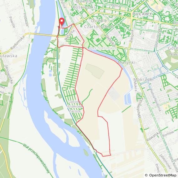Mapa dystansu Hobby Puławy Cisowianka Mazovia MTB Marathon